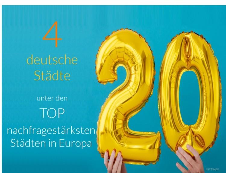 Vier deutsche unter Top 20 nachfragestärksten Städten Europas